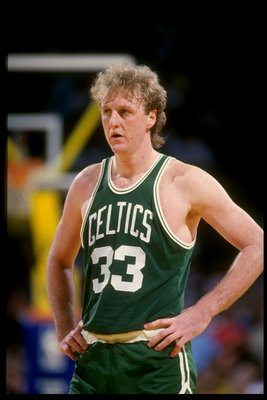 Undated:  Forward Larry Bird of the Boston Celtics looks on. NOTE TO USER:  It is expressly understood that the only rights Allsport are offering to license in this Photograph are one-time, non-exclusive editorial rights.  No advertising or commercial use