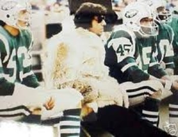 Joe Namath of the Jets waiting to go back on the field