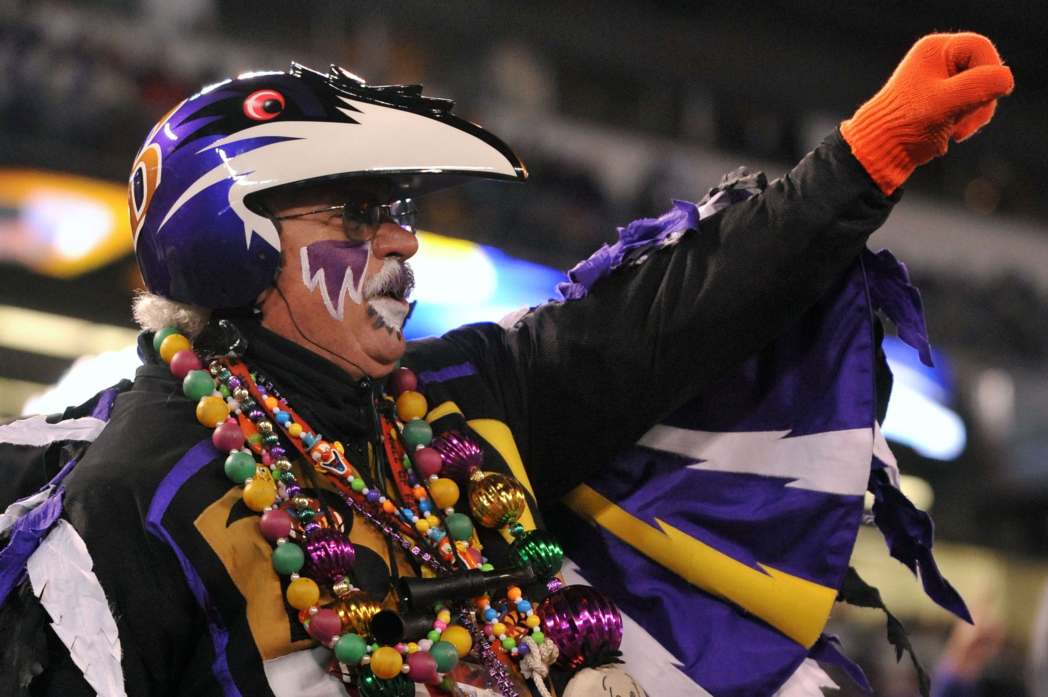 BALTIMORE, MD - DECEMBER 05:  A fan of the Baltimore Ravens cheers during the game against the Pittsburgh Steelers at M&T Bank Stadium on December 5, 2010 in Baltimore, Maryland. Pittsburgh won 13-10. (Photo by Larry French/Getty Images)