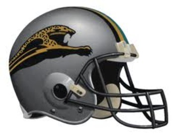 1995 Jaguars proposed helmet design. Center stripe is gold, with a single black and teal stripe on each side.