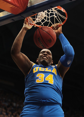 LAWRENCE, KS - DECEMBER 02:  Joshua Smith #34 of the UCLA Bruins dunks during the game against the Kansas Jayhawks on December 2, 2010 at Allen Fieldhouse in Lawrence, Kansas.  (Photo by Jamie Squire/Getty Images)