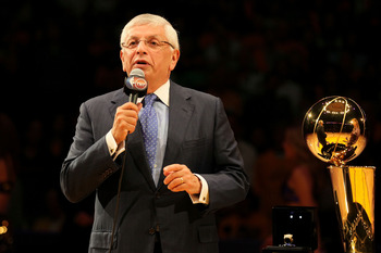 LOS ANGELES, CA - OCTOBER 26:  Commissioner David Stern speaks to the crowd prior to presenting the 2009-2010 Championship Rings to the Los Angeles Lakers at Staples Center on October 26, 2010 in Los Angeles, California. NOTE TO USER: User expressly ackno