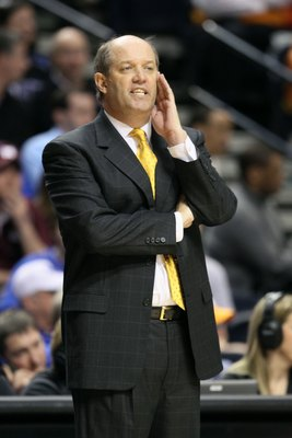 NASHVILLE, TN - MARCH 13:  Head coach Kevin Stallings of the Vanderbilt Commodores reacts as he coaches against the Mississippi State Bulldogs during the semirfinals of the SEC Men's Basketball Tournament at the Bridgestone Arena on March 13, 2010 in Nash