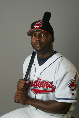 WINTER HAVEN , FL- MARCH 2:  Outfielder Milton Bradley #24 of the Cleveland Indians poses during Media Day on March 2, 2004 at Chain O Lakes Park in Winter Haven, Florida. (Photo by Rick Stewart/Getty Images)