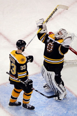 BOSTON, MA - JUNE 13:  Zdeno Chara #33 of the Boston Bruins celebrates with Tim Thomas #30 after defeating the Vancouver Canucks in Game Six of the 2011 NHL Stanley Cup Final at TD Garden on June 13, 2011 in Boston, Massachusetts. The Boston Bruins defeat
