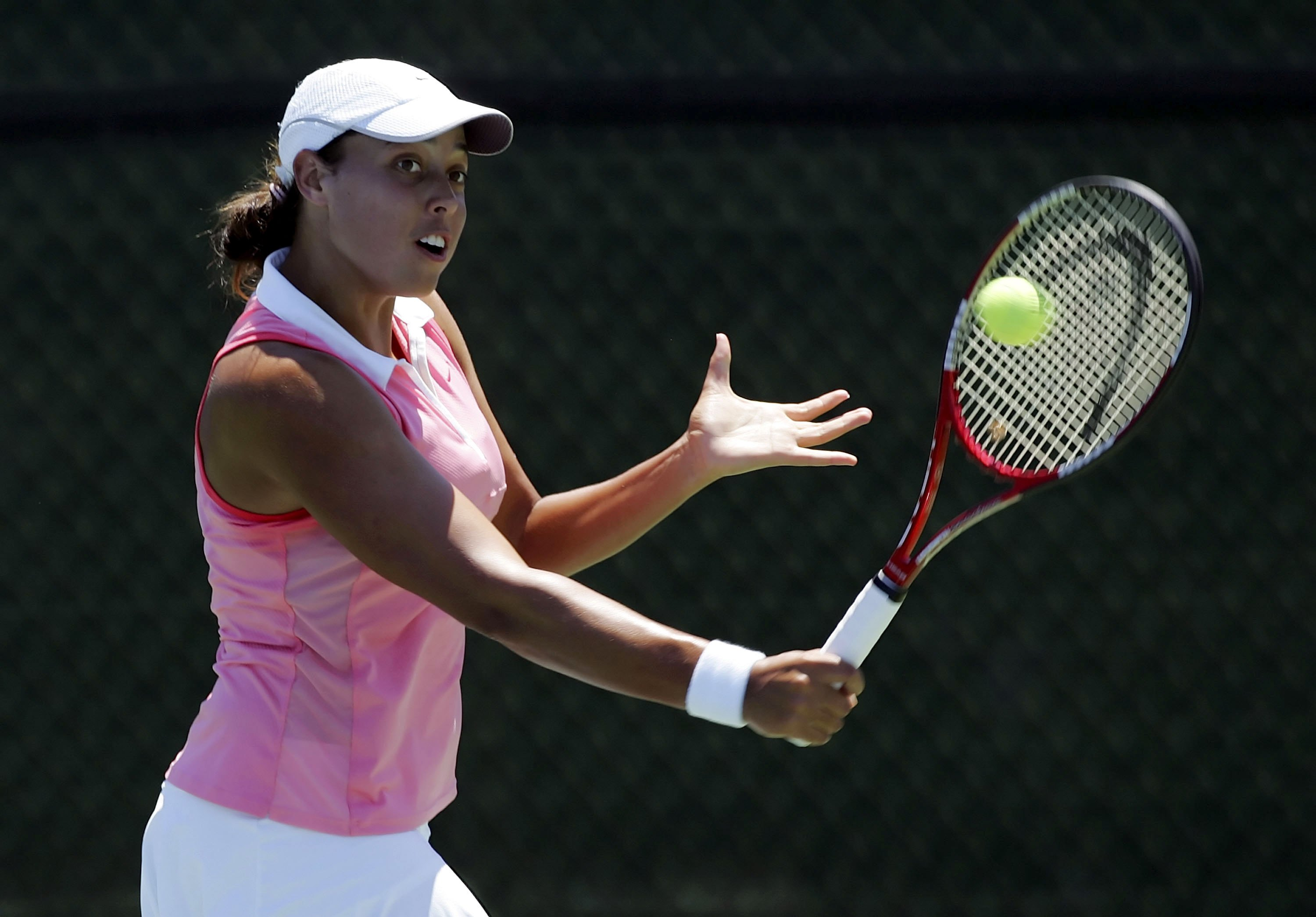 CARSON, CA - AUGUST 8: Alexandra Stevenson hits a backhand during her match against Samantha Stosur of Australia on Day 2 of the JPMorgan Chase Open on August 8, 2006 at Home Depot Center in Carson, California. Stosur won 6-4, 6-2. (Photo by Lisa Blumenfe