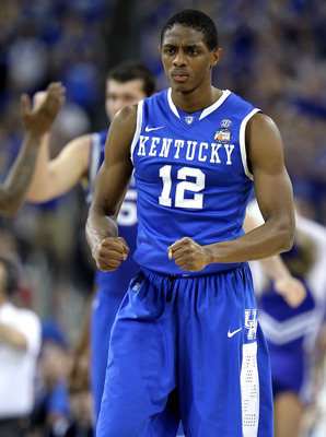 HOUSTON, TX - APRIL 02:  Brandon Knight #12 of the Kentucky Wildcats reacts against the Connecticut Huskies during the National Semifinal game of the 2011 NCAA Division I Men's Basketball Championship at Reliant Stadium on April 2, 2011 in Houston, Texas.