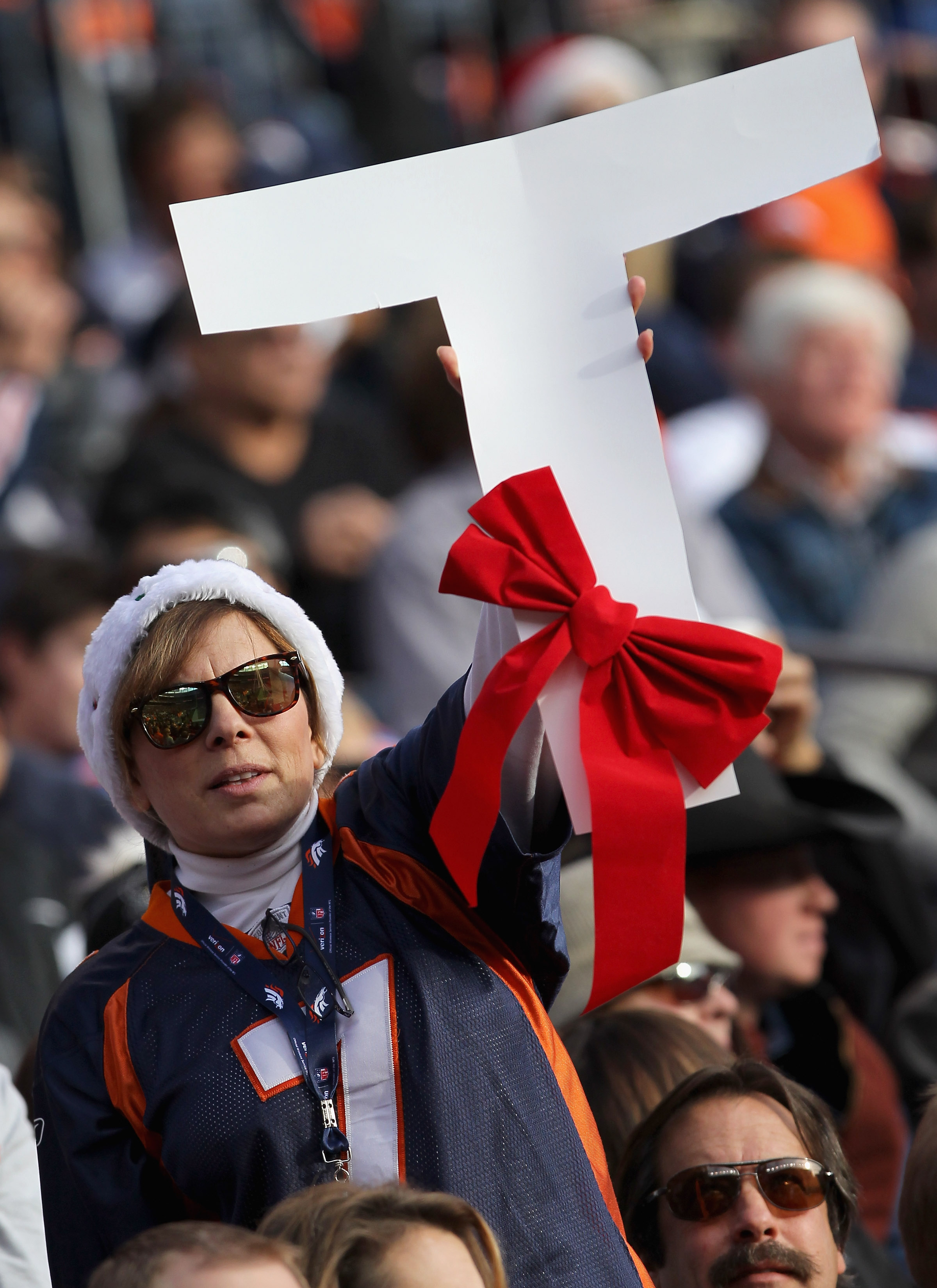 DENVER - DECEMBER 26:  A fan shows her support of Tim Tebow of the Denver Broncos against the Houston Texas at INVESCO Field at Mile High on December 26, 2010 in Denver, Colorado.  (Photo by Doug Pensinger/Getty Images)