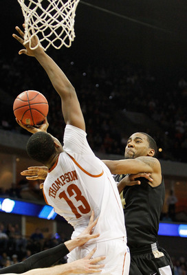 TULSA, OK - MARCH 18:  Keith Benson #34 of the Oakland Golden Grizzlies goes up for a shot against Tristan Thompson #13 of the Texas Longhorns during the second round of the 2011 NCAA men's basketball tournament at BOK Center on March 18, 2011 in Tulsa, O