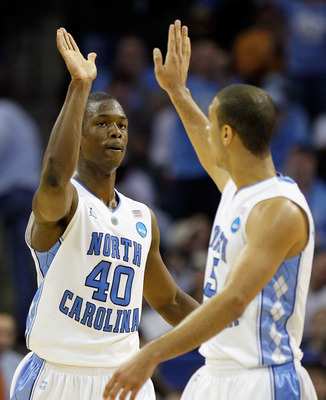 CHARLOTTE, NC - MARCH 20:  Harrison Barnes #40 and Kendall Marshall #5 of the North Carolina Tar Heels react in the second half while taking on the Washington Huskies during the third round of the 2011 NCAA men's basketball tournament at Time Warner Cable