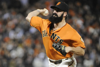 SAN FRANCISCO, CA - JUNE 10: Brian Wilson #38 of the San Francisco Giants pitches in the ninth inning against the Cincinnati Reds during a MLB baseball game June 10, 2011 at AT&T Park in San Francisco, California. The Giants won the game 3-2. (Photo by Th