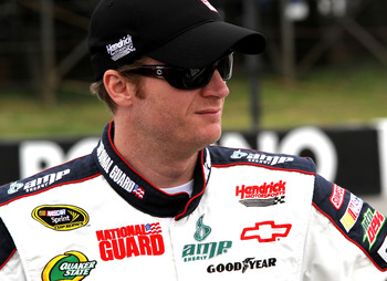 LONG POND, PA - JUNE 12:  Dale Earnhardt Jr., driver of the #88 National Guard/Amp Energy Chevrolet, stands on the grid prior to the NASCAR Sprint Cup Series 5-Hour Energy 500 at Pocono Raceway on June 12, 2011 in Long Pond, Pennsylvania.  (Photo by Jerry
