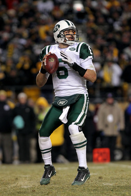 PITTSBURGH, PA - JANUARY 23:  Quarterback Mark Sanchez #6 of the New York Jets looks to pass against the Pittsburgh Steelers during the 2011 AFC Championship game at Heinz Field on January 23, 2011 in Pittsburgh, Pennsylvania. The Steelers won 24-19.  (Ph