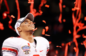 NEW ORLEANS, LA - JANUARY 04:  Terrelle Pryor #2 of the Ohio State Buckeyes celebrates the Buckeyes 31-26 victory against the Arkansas Razorbacks during the Allstate Sugar Bowl at the Louisiana Superdome on January 4, 2011 in New Orleans, Louisiana.  (Pho