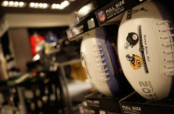 ARLINGTON, TX - FEBRUARY 06:  Offical Super Bowl XLV Footballs are sold during Super Bowl XLV between the Green Bay Packers and the Pittsburgh Steelers at Cowboys Stadium on February 6, 2011 in Arlington, Texas.  (Photo by Jamie Squire/Getty Images)