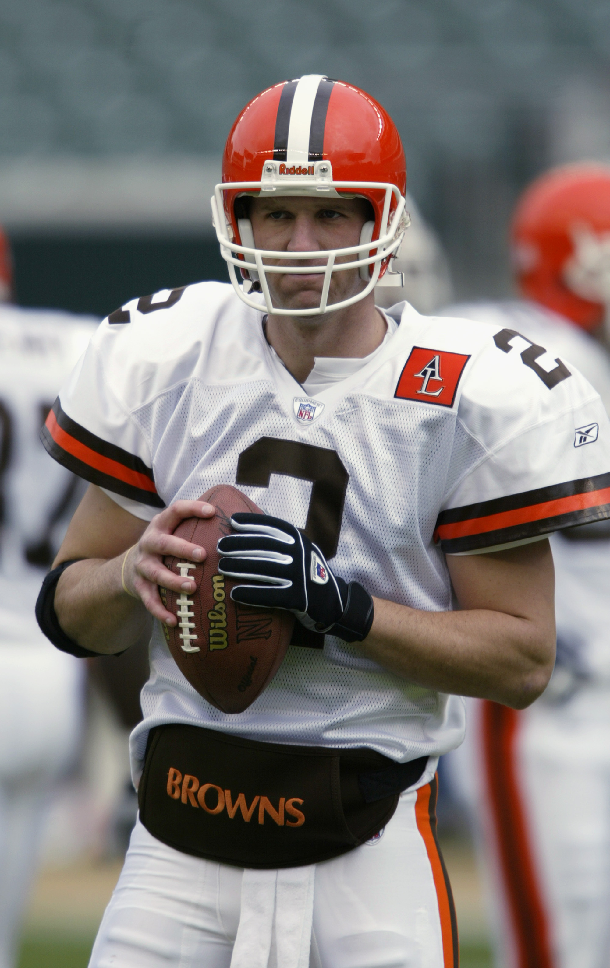 CINCINNATI - NOVEMBER 17:  Quarterback Tim Couch #2 of the Cleveland Browns throws the ball during warm-ups prior to the NFL game against the Cincinnati Bengals at Paul Brown Stadium on November 17, 2002 in Cincinnati, Ohio. The Browns defeated the Bengal