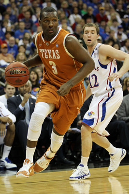 KANSAS CITY, MO - MARCH 12:  Jordan Hamilton #3 of the Texas Longhorns drives with the ball against the Kansas Jayhawks during the 2011 Phillips 66 Big 12 Men's Basketball Tournament championship game at Sprint Center on March 12, 2011 in Kansas City, Mis