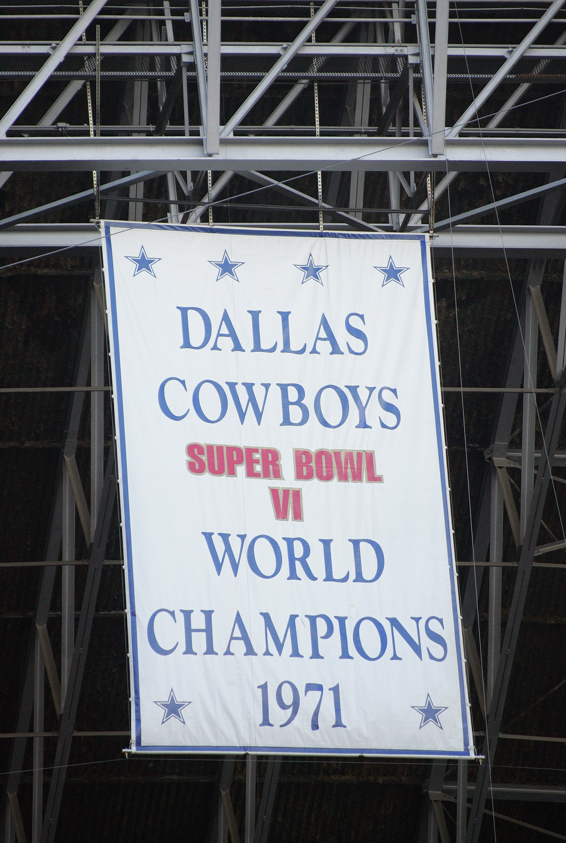 IRVING, TX - NOVEMBER 20:  A banner hangs from the rafters commemorating the 1971 Dallas Cowboys as Super Bowl VI Champions during the game between the Detroit Lions and the Dallas Cowboys on November 20, 2005 at Texas Stadium in Irving, Texas.  The Cowbo