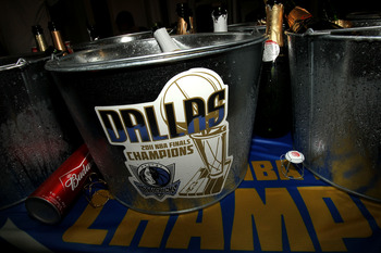 MIAMI, FL - JUNE 12:  A detail of a champagne bucket in the Dallas Mavericks locker room after the Mavericks won 105-95 against the Miami Heat in Game Six of the 2011 NBA Finals at American Airlines Arena on June 12, 2011 in Miami, Florida. NOTE TO USER: