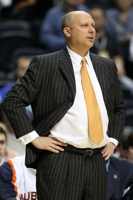 NASHVILLE, TN - MARCH 11:  Head coach Jeff Lebo of the Auburn Tigers looks on as he coaches against the Florida Gators during the first round of the SEC Men's Basketball Tournament at the Bridgestone Arena on March 11, 2010 in Nashville, Tennessee.  (Phot