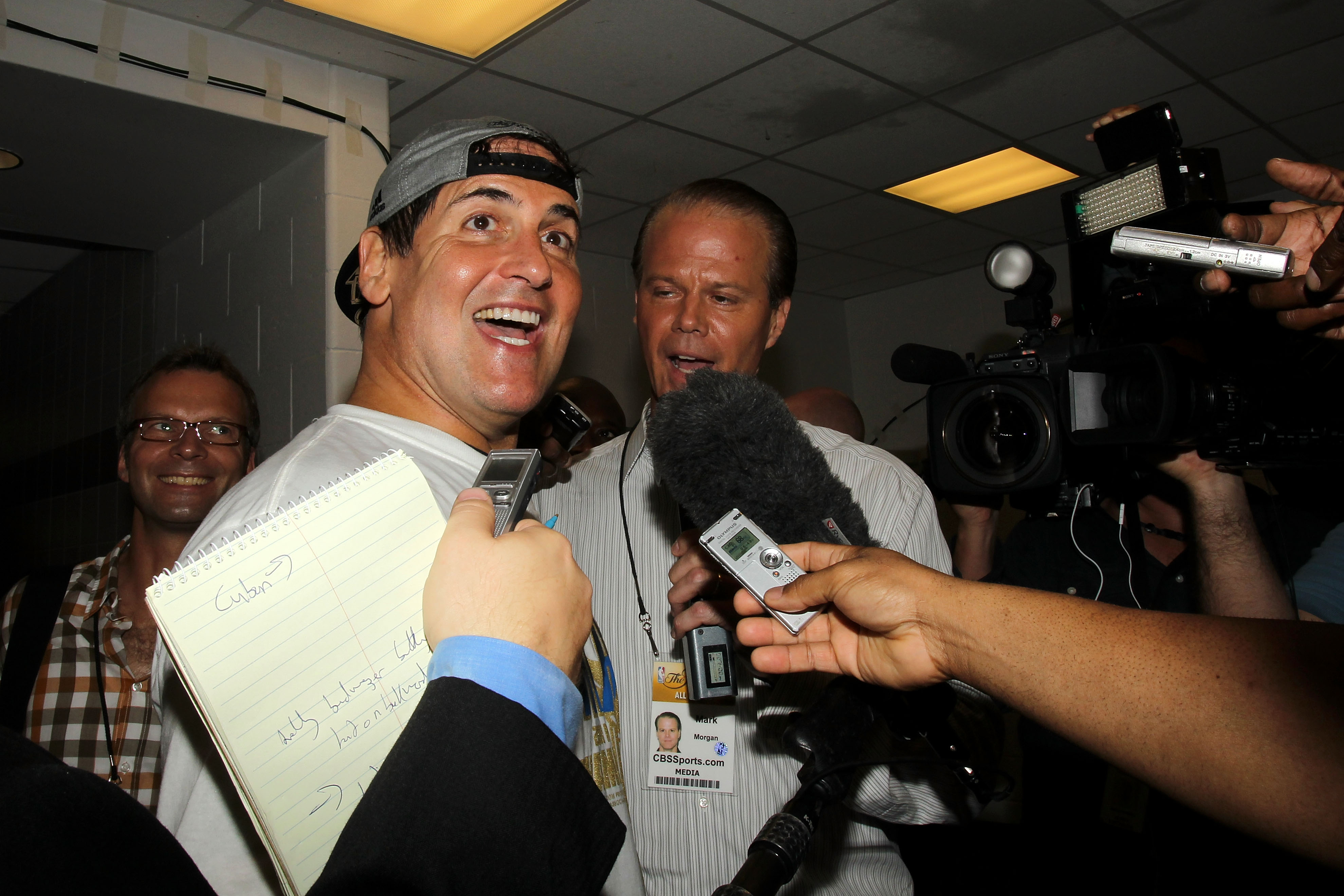 MIAMI, FL - JUNE 12:  Owner Mark Cuban of the Dallas Mavericks celebrates in the locker room after the Mavericks won 105-95 against the Miami Heat in Game Six of the 2011 NBA Finals at American Airlines Arena on June 12, 2011 in Miami, Florida. NOTE TO US