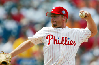 PHILADELPHIA - APRIL 18:    Starting pitcher Randy Wolf #43 of the Philadelphia Phillies pitches against the Montreal Expos during the game at Citizens Bank Park on April 18, 2004 in Philadelphia, Pennsylvania.  (Photo by Jamie Squire/Getty Images)