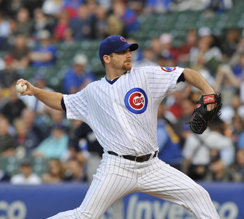 CHICAGO, IL - JUNE 13: Ryan Dempster # 46 of the Chicago Cubs pitches against the Milwaukee Brewers on June 13, 2011 at Wrigley Field in Chicago, Illinois.  (Photo by David Banks/Getty Images)