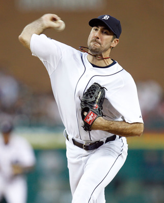 DETROIT, MI - JUNE 14: Justin Verlander #35 of the Detroit Tigers throws a eighth inning pitch while playing the Cleveland Indians at Comerica Park on June 14, 2011 in Detroit, Michigan. Detroit won the game 4-0. (Photo by Gregory Shamus/Getty Images)