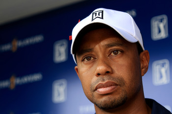 PONTE VEDRA BEACH, FL - MAY 12:  Tiger Woods addresses the media after withdrawing on the ninth hole during the first round of THE PLAYERS Championship held at THE PLAYERS Stadium course at TPC Sawgrass on May 12, 2011 in Ponte Vedra Beach, Florida.  (Pho