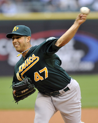 CHICAGO, IL - JUNE 11: Gio Gonzalez # 47 of the Oakland Athletics pitches against the Chicago White Sox on June 11, 2011 at U.S. Cellular Field in Chicago, Illinois.  (Photo by David Banks/Getty Images)
