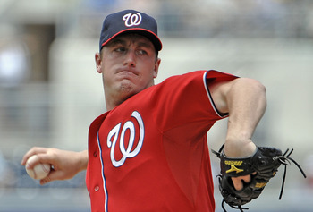 SAN DIEGO, CA - JUNE 12: Jordan Zimmermann #27 of the Washington Nationals pitches during the first inning of a baseball game against  the San Diego Padres at Petco Park on June 12, 2011 in San Diego, California. The Nationals won 2-0.  (Photo by Denis Po