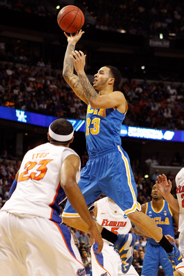 TAMPA, FL - MARCH 19:  Tyler Honeycutt #23 of the UCLA Bruins drives for a shot attempt against Alex Tyus #23 of the Florida Gators during the third round of the 2011 NCAA men's basketball tournament at St. Pete Times Forum on March 19, 2011 in Tampa, Flo
