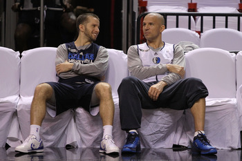 MIAMI, FL - JUNE 11:  Jose Juan Barea #11 and Jason Kidd #2 (R) of the Dallas Mavericks talk on court during practice prior to Game 6 of the 2011 NBA Finals against the Miami Heat at the American Airlines Arena on June 11, 2011 in miami, Florida. Game 6 w