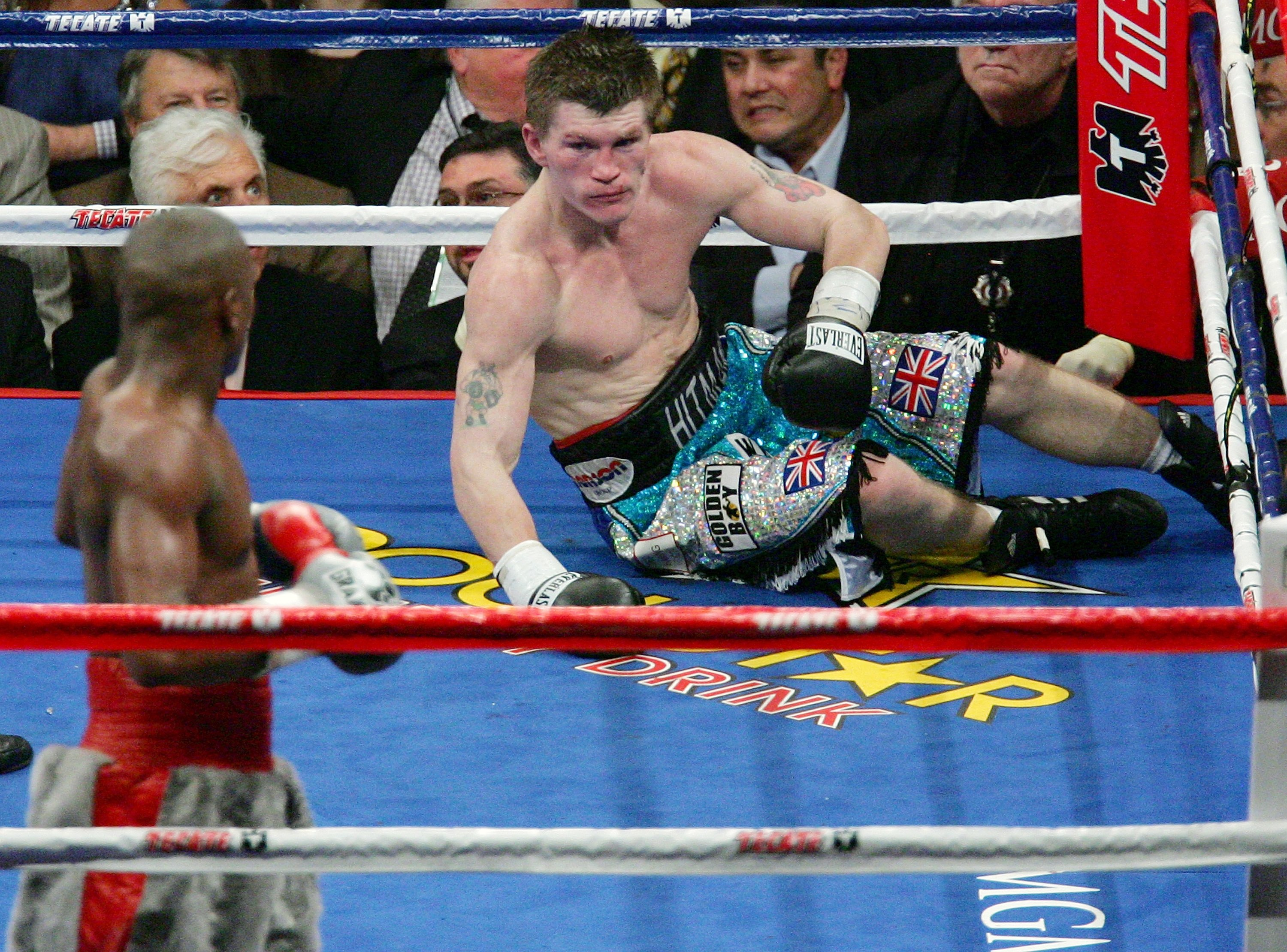 LAS VEGAS - DECEMBER 08:  Ricky Hatton is knocked down in the 10th round by Floyd Mayweather Jr. during their WBC world welterweight championship fight at the MGM Grand Garden Arena on December 8, 2007 in Las Vegas, Nevada.  (Photo by Ethan Miller/Getty I