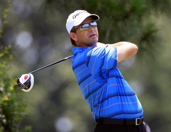 MEMPHIS, TN - JUNE 12:  Retief Goosen of South Africa plays a shot during the final round of the FedEx St. Jude Classic at TPC Southwind on June 12, 2011 in Memphis, Tennessee.  (Photo by Sam Greenwood/Getty Images)