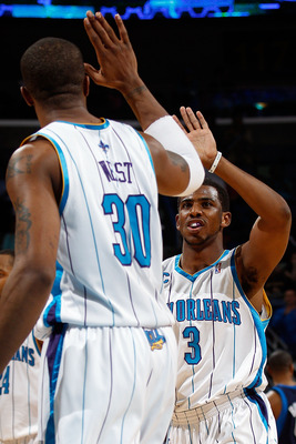NEW ORLEANS - MARCH 22:  David West #30 and Chris Paul #3 of the New Orleans Hornets celebrate near the end of the game against the Dallas Mavericks at the New Orleans Arena on March 22, 2010 in New Orleans, Louisiana.  The Hornets defeated the Mavericks