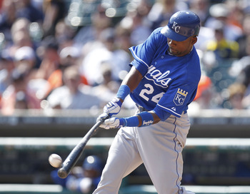 DETROIT, MI - APRIL 10:  Wilson Betemit #24 of the Kansas City Royals hits a seventh inning RBI double while playing the Detroit Tigers at Comerica Park on April 10, 2011 in Detroit, Michigan.  (Photo by Gregory Shamus/Getty Images)