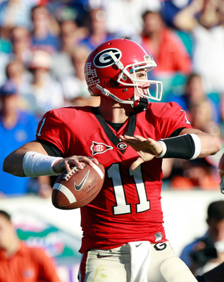 JACKSONVILLE, FL - OCTOBER 30:  Quarterback Aaron Murray #11 of the Georgia Bulldogs attempts a pass during the game against the Florida Gators at EverBank Field on October 30, 2010 in Jacksonville, Florida.  (Photo by Sam Greenwood/Getty Images)