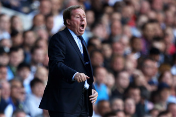 LONDON, ENGLAND - MAY 22:  Harry Redknapp, manager of Tottenham Hotspur shouts instructions during the Barclays Premier League match between Tottenham Hotspur and Birmingham City at White Hart Lane on May 22, 2011 in London, England.  (Photo by Julian Fin