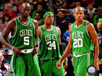 The Big 3 looking On in route to thier 17th banner in Celtics history