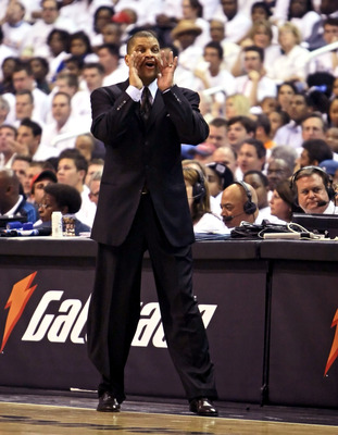 WASHINGTON - APRIL 24: Head coach Eddie Jordan of the Washington Wizards yells to his players during the game against the Cleveland Cavaliers in Game Three of the Eastern Conference Quarterfinals during the 2008 NBA Playoffs at the Verizon Center on April