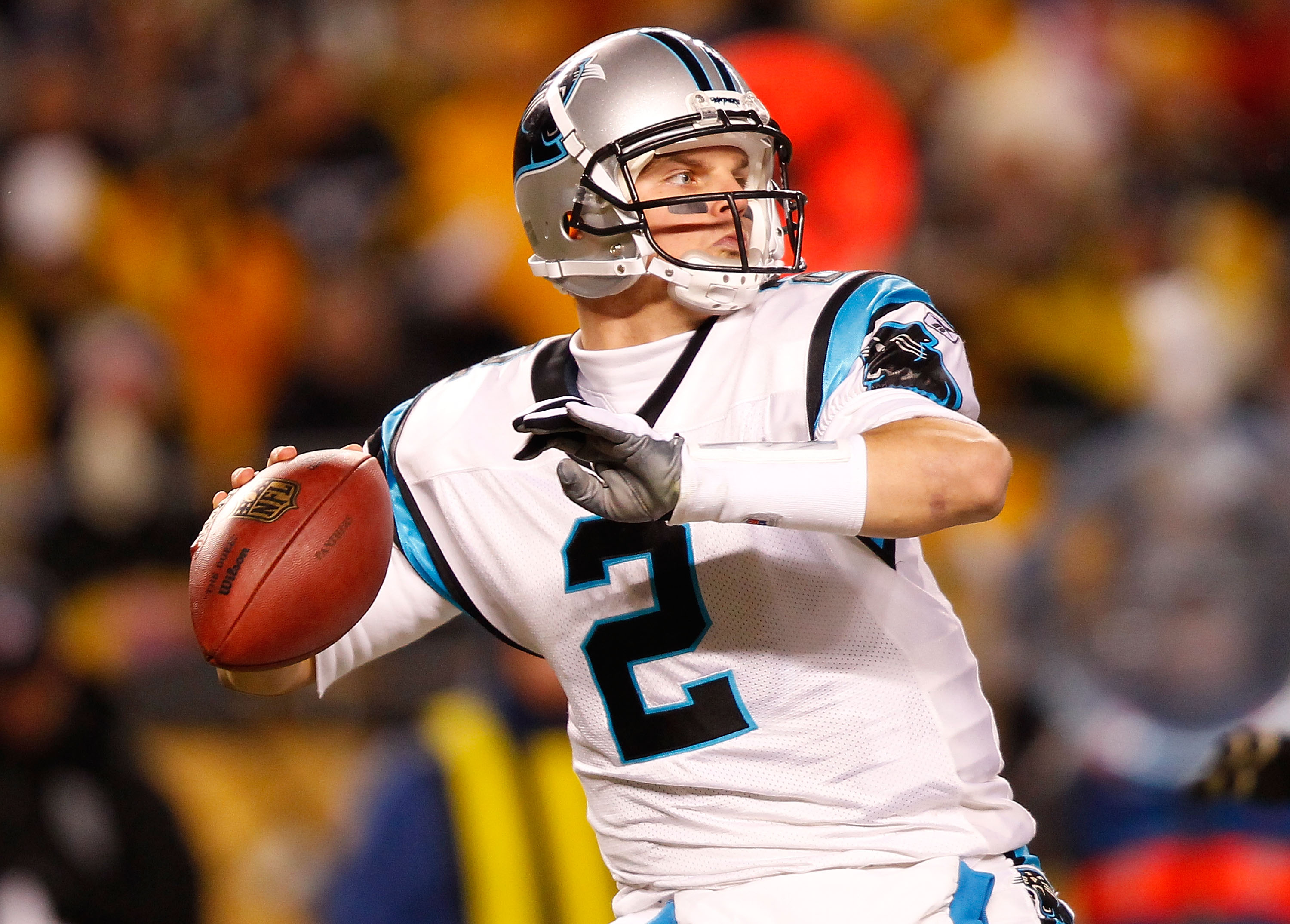 PITTSBURGH - DECEMBER 23:  Jimmy Clausen #2 of the Carolina Panthers drops back to pass against the Pittsburgh Steelers during the game on December 23, 2010 at Heinz Field in Pittsburgh, Pennsylvania.  (Photo by Jared Wickerham/Getty Images)