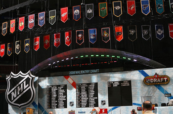 OTTAWA, ON - JUNE 21:  General view of the draft board during the 2008 NHL Entry Draft at Scotiabank Place on June 21, 2008 in Ottawa, Ontario, Canada.  (Photo by Bruce Bennett/Getty Images)