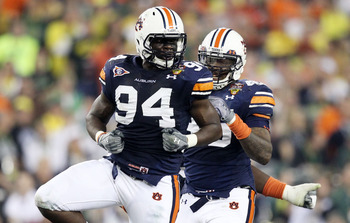 Auburn defensive end Nosa Eguae celebrates after a play in the BCS title game.