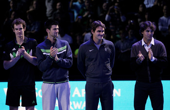 LONDON, ENGLAND - NOVEMBER 21:  (L-R) Andy Murray of Great Britain, Novak Djokovic of Siberia, Roger Federer of Switzerland and Rafael Nadal of Spain attend a ceremony for Carlos Moya's retirement during the Barclays ATP World Tour Finals at O2 Arena on N