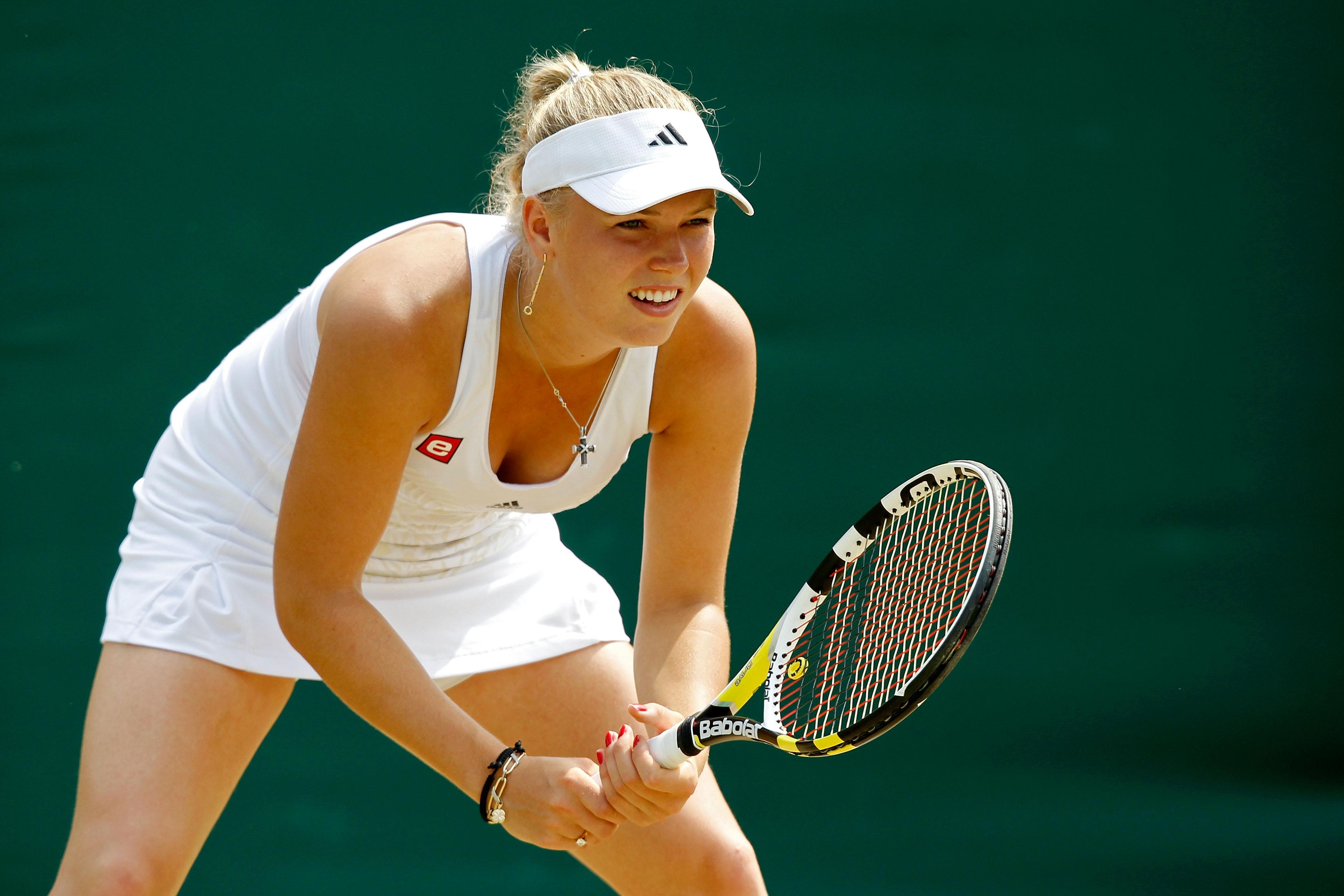 Caroline Wozniacki at Wimbledon in 2010.