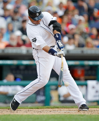 DETROIT, MI - JUNE 16: Miguel Cabrera #24 of the Detroit Tigers hits an RBI single in the fifth inning while playing the Cleveland Indians at Comerica Park on June 16, 2011 in Detroit, Michigan. Detroit won the game 6-2. (Photo by Gregory Shamus/Getty Ima