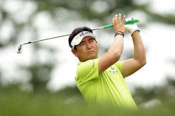 BETHESDA, MD - JUNE 16:  Y.E. Yang of South Korea hits a shot during the first round of the 111th U.S. Open at Congressional Country Club on June 16, 2011 in Bethesda, Maryland.  (Photo by Ross Kinnaird/Getty Images)