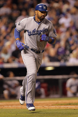DENVER, CO - JUNE 10:  Matt Kemp #27 of the Los Angeles Dodgers rounds the bases as he hit a solo homerun off of Matt Belisle #34 of the Colorado Rockies in the ninth inning at Coors Field on June 10, 2011 in Denver, Colorado. The Rockies defeated the Dod