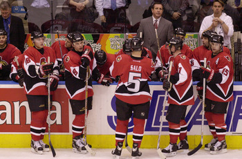 18 Apr 2001:  A despondent Ottawa Senators team take a rest in the last minutes of their game against the Toronto Maple Leafs in Game 4 of the Eastern Conference quarter-finals at the Air Canada Center in Toronto, Canada. The Leafs won the game 3-1 and th